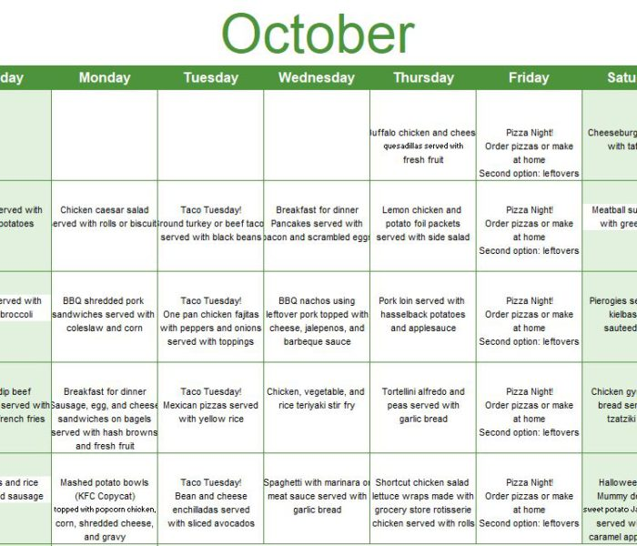 Free Printable October Meal Ideas Calendar